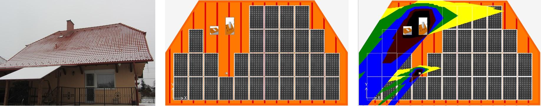 Árnyék hatása a napelemes termelésre - tervezés